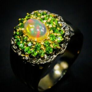 Fascinating Genuine Ethiopian Opal Ring